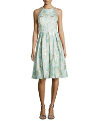 Carmen Marc Valvo Jacquard Full Skirt Cocktail Dress Aqua Gold