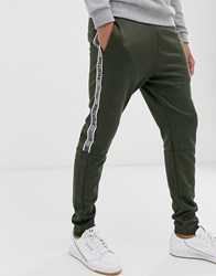 Hollister Leg Logo Side Piping Cuffed Joggers In Olive Grey