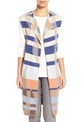 Nic Zoe 'Watercolor' Long Knit Vest Brown