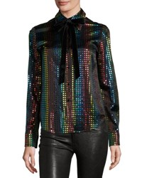 Marc Jacobs Rainbow Dot Silk Blouse W Velvet Bow Black