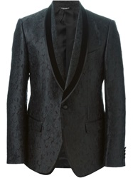 Dolce And Gabbana Floral Jacquard Dinner Jacket Black