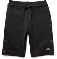 Y 3 Tack Stitch Detailed Loopback Cotton Jersey Shorts Black