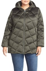Kristen Blake Plus Size Hooded Diamond Quilted A Line Down Coat