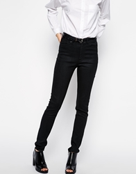 Weekday Thursday High Rise Coated Skinny Jeans Black
