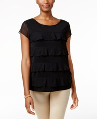Charter Club Tiered Sheer Sleeve Top Only At Macy's Deep Black