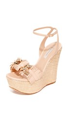 Casadei Jeweled Wedge Sandals Nude Gold