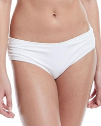 Carmen Marc Valvo Side Shirred Full Swim Bikini Bottoms White