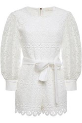 Maje Woman Belted Guipure Lace Playsuit White
