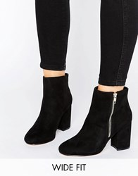 Asos Regan Wide Fit Mid Heel Ankle Boots Black