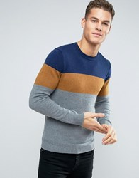 Esprit Knitted Jumper With Colour Block Stripe Cognac Brown