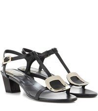 Roger Vivier Chips Leather Sandals Black