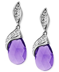 Kaleidoscope Sterling Silver Earrings Purple And White Crystal Drop Earrings With Swarovski Elements 12 Ct. T.W.