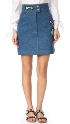 Olympia Le Tan Early Pearl Patches Skirt Blue