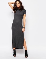 Noisy May Ribbed Turtleneck Maxi Dress Grey
