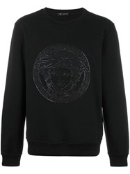 Versace Embroidered Medusa Sweatshirt Black