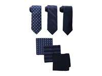 Stacy Adams 3 Pack Tie Assortment With Pocket Squares Navy Ties