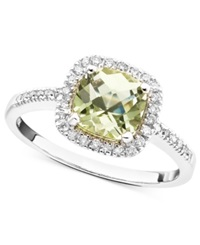Macy's 10K White Gold Ring Green Quartz 1 1 10 Ct. T.W. And Diamond 1 5 Ct. T.W.