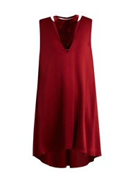 Valentino Velvet Panel Satin Dress Burgundy