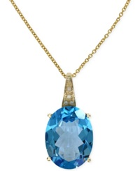 Effy Collection Effy Blue Topaz 8 1 3 Ct. T.W. And Diamond Accent Pendant Necklace In 14K Gold
