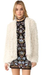 Free People Flared And Fluffy Jacket Ivory