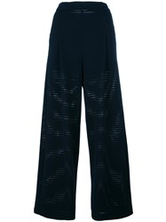 Emporio Armani Perforated Detail Trousers Blue