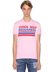 Dsquared Printed Very Very Dan Fit Jersey T Shirt Pink