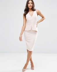 Asos Sleeveless Pencil Dress With Peplum Detail Blush Pink