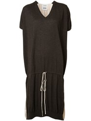 Uma Wang Drawstring T Shirt Dress Brown