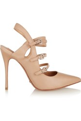 Schutz Buckled Leather Pumps Taupe