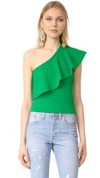 Milly One Shoulder Flounce Top Emerald