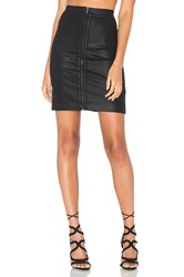 Heather Coated Zip Front Skirt Black