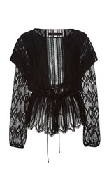 Sally Lapointe Lace Boatneck Blouse Black