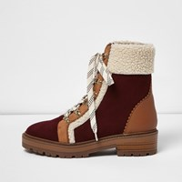 River Island Womens Brown Fleece Trim Ankle Boots