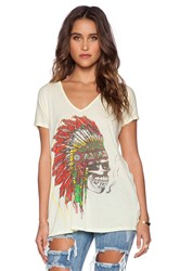 Lauren Moshi April Skull Headdress Oversized V Neck Tee Yellow