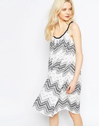 B.Young Swing Dress In Zig Zag Print Asphalt White