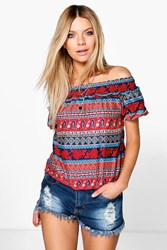 Boohoo Cold Shoulder Woven Print Gypsy Crop Red