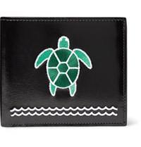 Thom Browne Turtle Appliqued Polished Leather Billfold Wallet Black