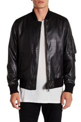 Y 3 Genuine Leather Bomber Jacket Black