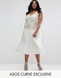 Asos Curve Embroidered Dress With Pleated Skirt Cream
