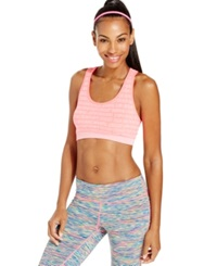 Ideology Space Dye Mid Impact Sports Bra Neon Punch