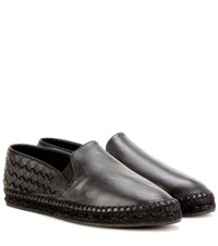 Bottega Veneta Intrecciato Leather Espadrilles Black