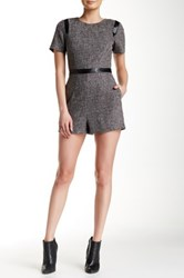 Lucy Paris Tweed Faux Leather Trim Romper Black