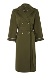 Topshop Relaxed Tie Waist Trench Coat Khaki