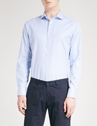Smyth And Gibson Gingham Tailored Fit Cotton Oxford Shirt Sky