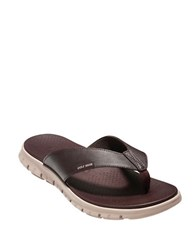 Cole Haan Zerogrand Leather Thong Sandals Java Cobble
