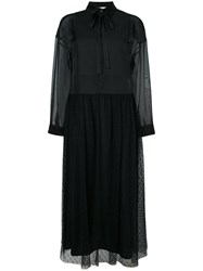 Red Valentino Fit And Flare Button Up Dress Women Polyester 40 Black