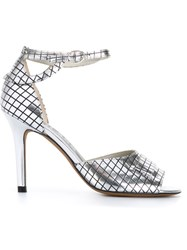 Golden Goose Deluxe Brand Grid Pattern Sandals Metallic