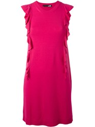 Love Moschino Ruffled Trim Dress Pink Purple