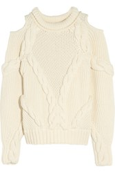 Alexander Mcqueen Cutout Cable Knit Wool Sweater Ivory