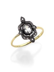 Ila Esta White Sapphire Diamond Sterling Silver And 14K Yellow Gold Ring